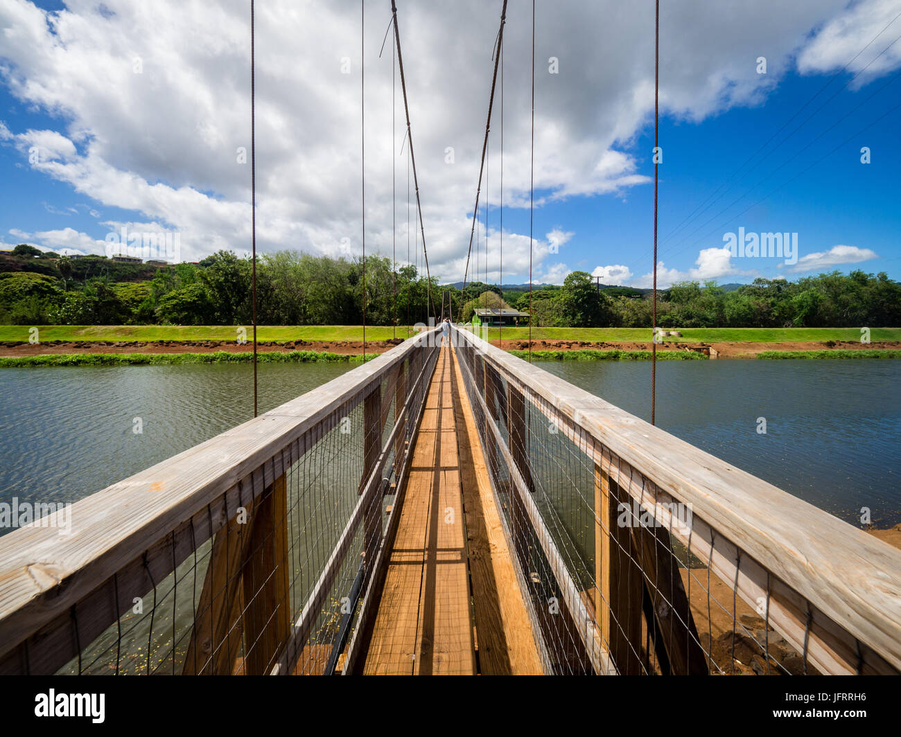 Swinging Bridge Hanapepe Kauai Hawaii Usa Stock Photo
