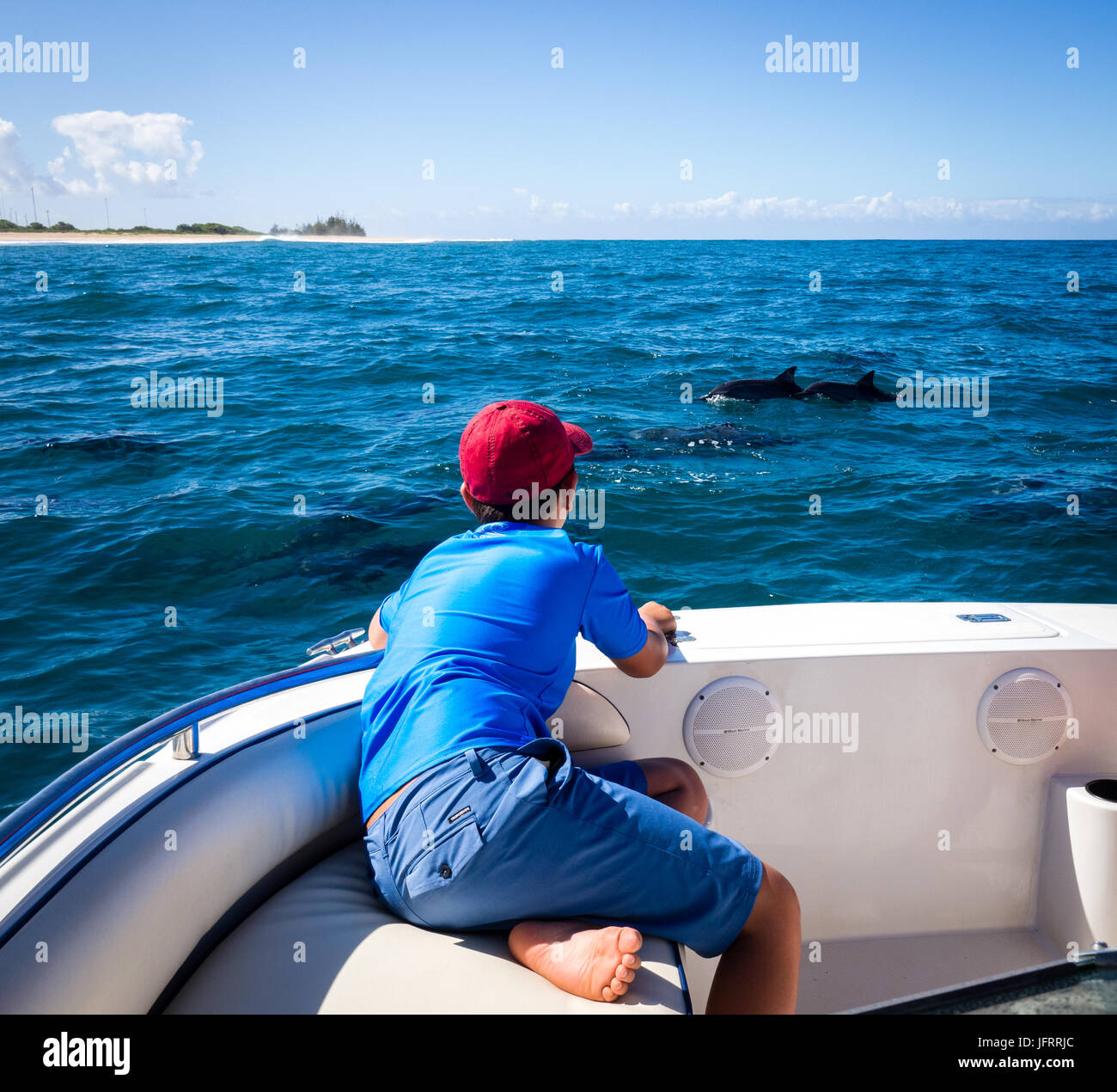 10 year old boy watching Hawaiian spinner dolphins off Napali Coast seen from coastal catamaran cruise in Kauai, - Stock Image