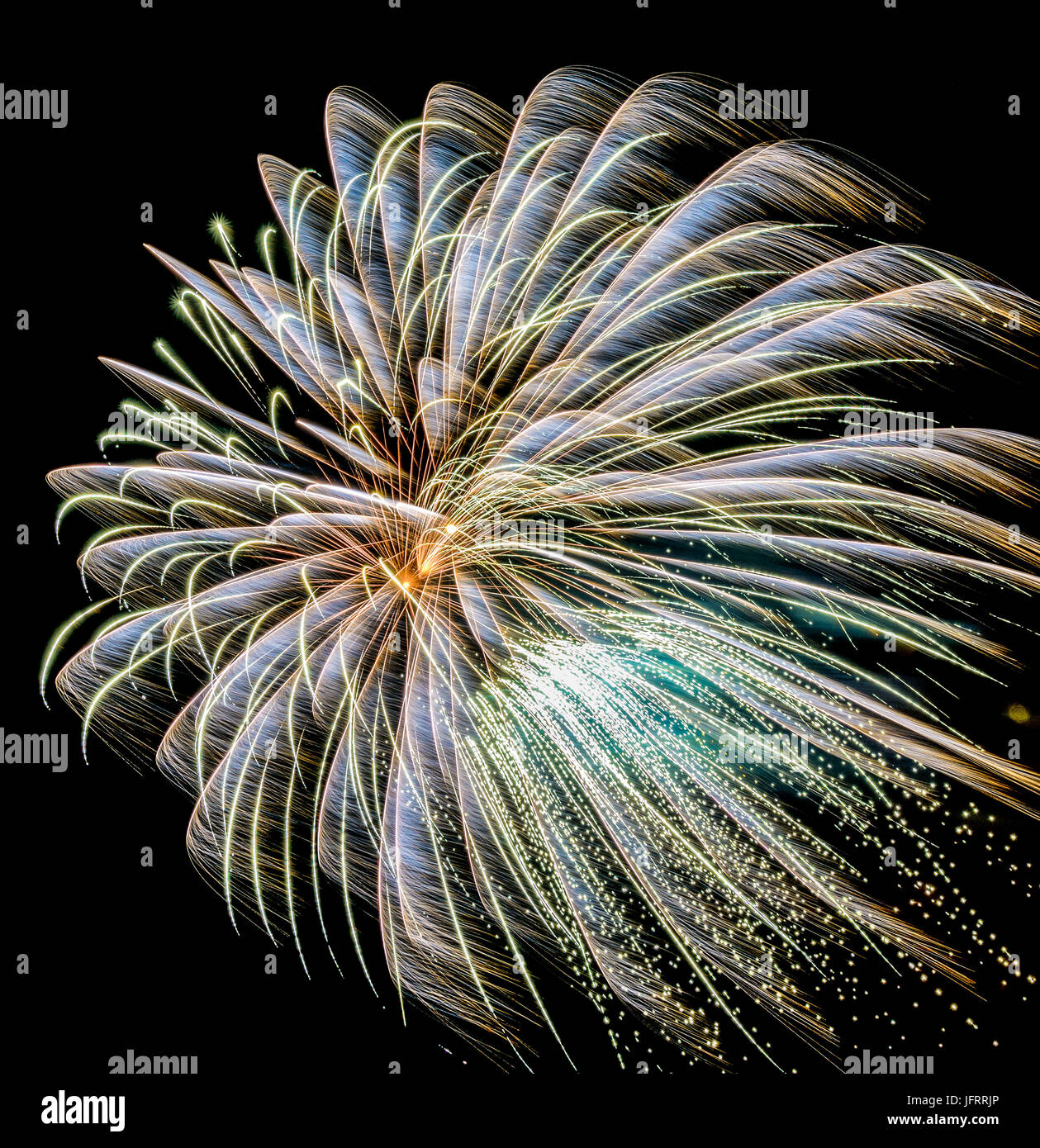 Firework in white and green on black background in graphical color painting style - Stock Image