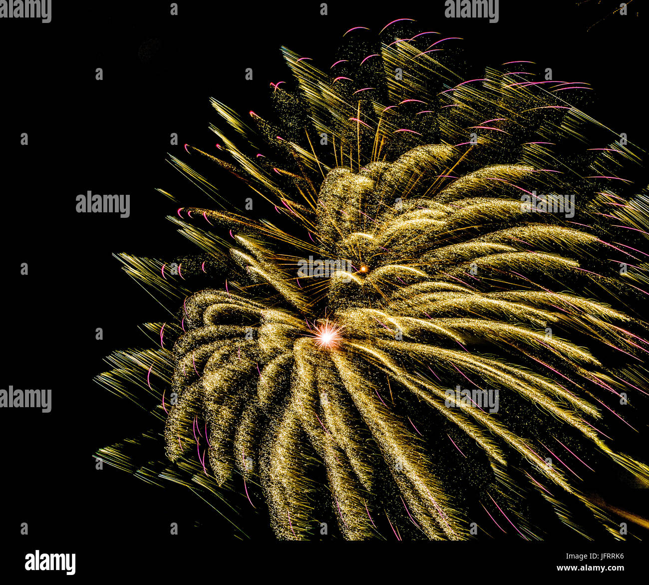 Firework in golden and pink on black background  in graphical color painting style Stock Photo