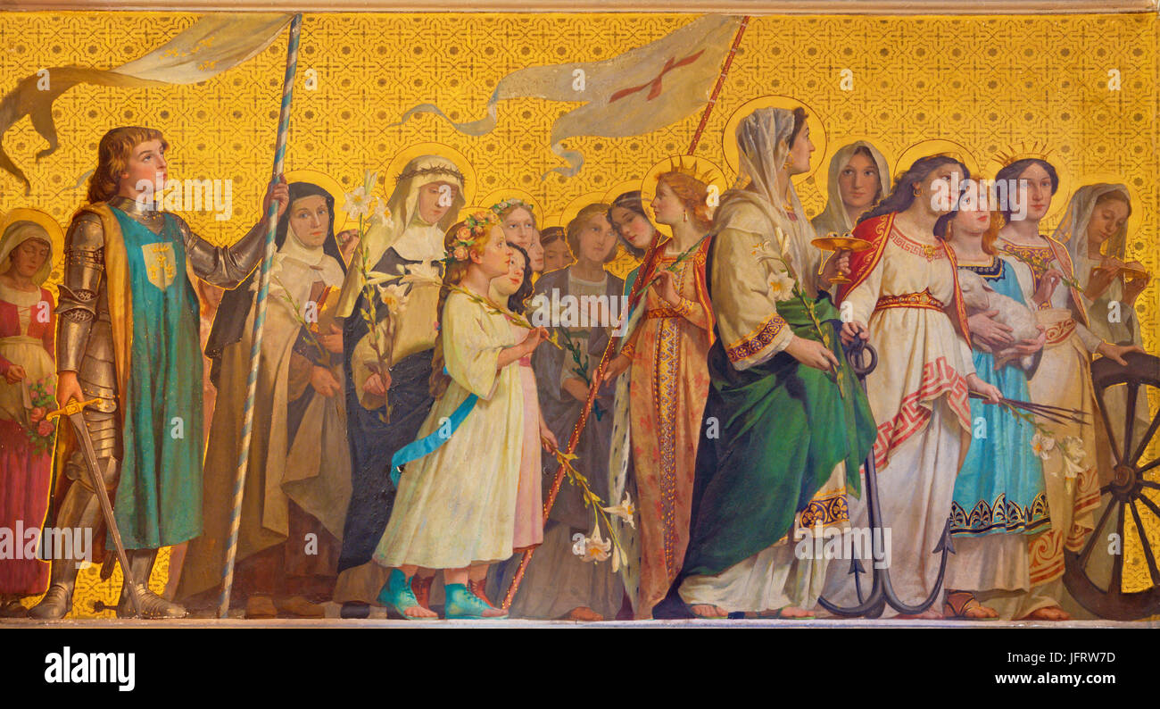 TURIN, ITALY - MARCH 15, 2017: The symbolic fresco of holy virgins in church Chiesa di San Dalmazzo by Enrico Reffo Stock Photo