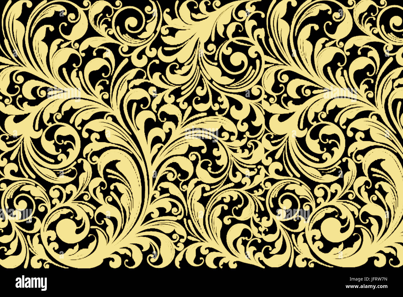 Vintage Floral Seamless Patten Classic Baroque Wallpaper Black And Gold Yellow