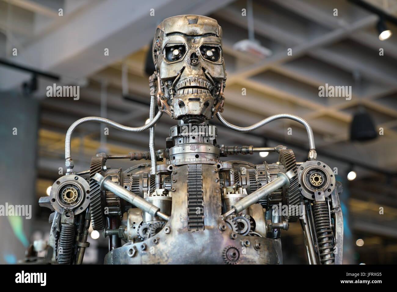 Los Angeles, California, USA - JUNE 25, 2017: Cyberdyne Systems Model 101 Series T-800 Terminator metal endoskeleton - Stock Image