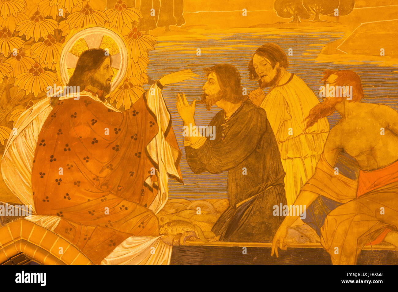 BERLIN, GERMANY, FEBRUARY - 16, 2017: The detail of fresco of Miracle Fishing in St. Pauls evengelical church by - Stock Image