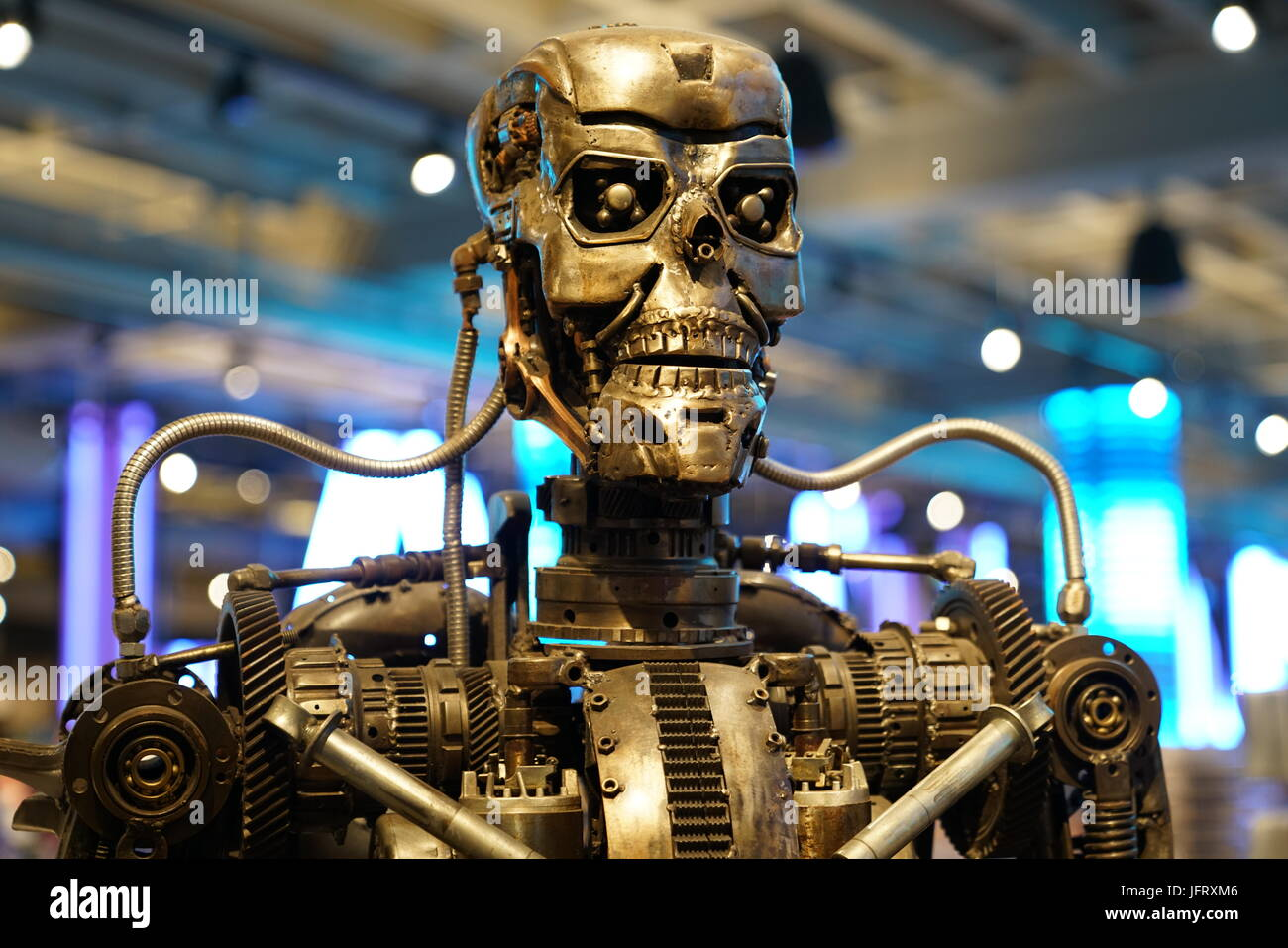 Los Angeles, California, USA - JUNE 25, 2017: Cyberdyne Systems Model 101 Series T-800 Terminator metal endoskeleton - Stock Image