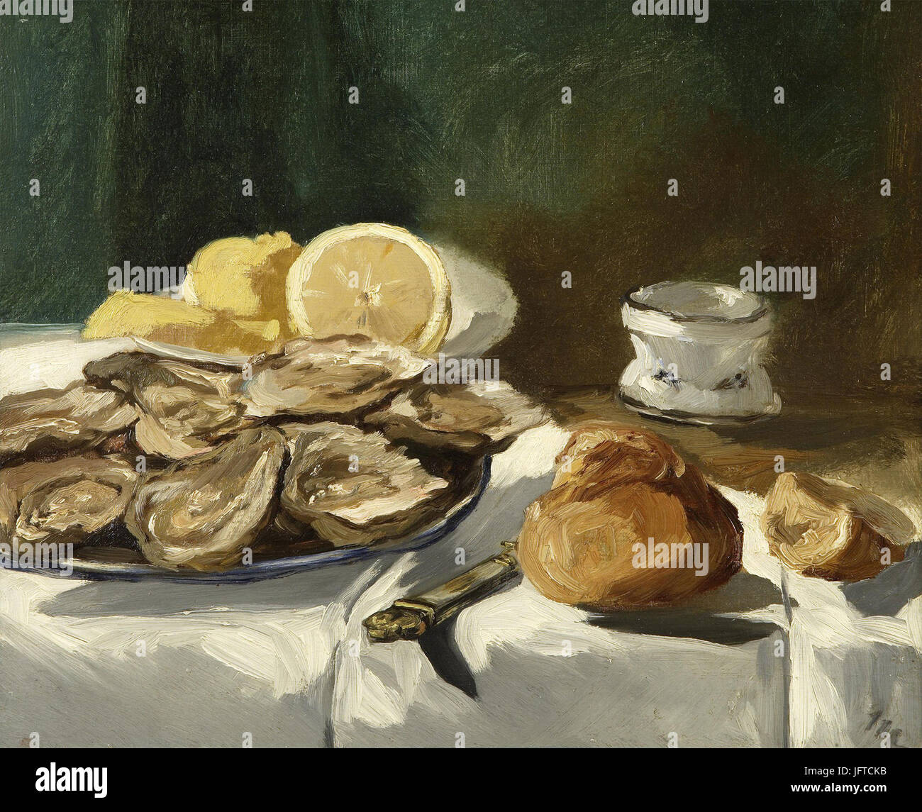 Édouard Manet - Nature morte, huơAEtres, citron, brioche (RW 252) - Stock Image