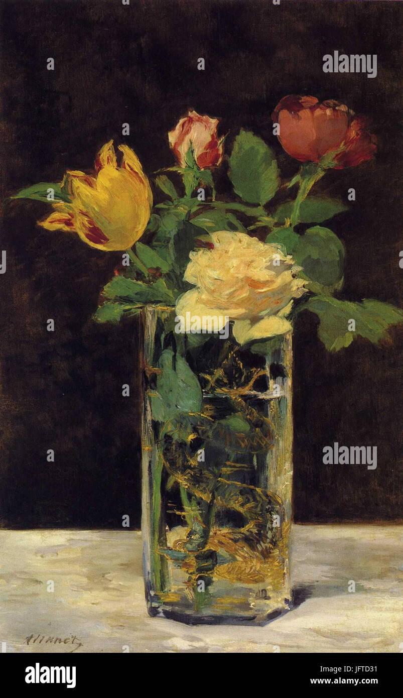 Édouard Manet - Roses et tulipes dans une vase (RW 4 ) - Stock Image