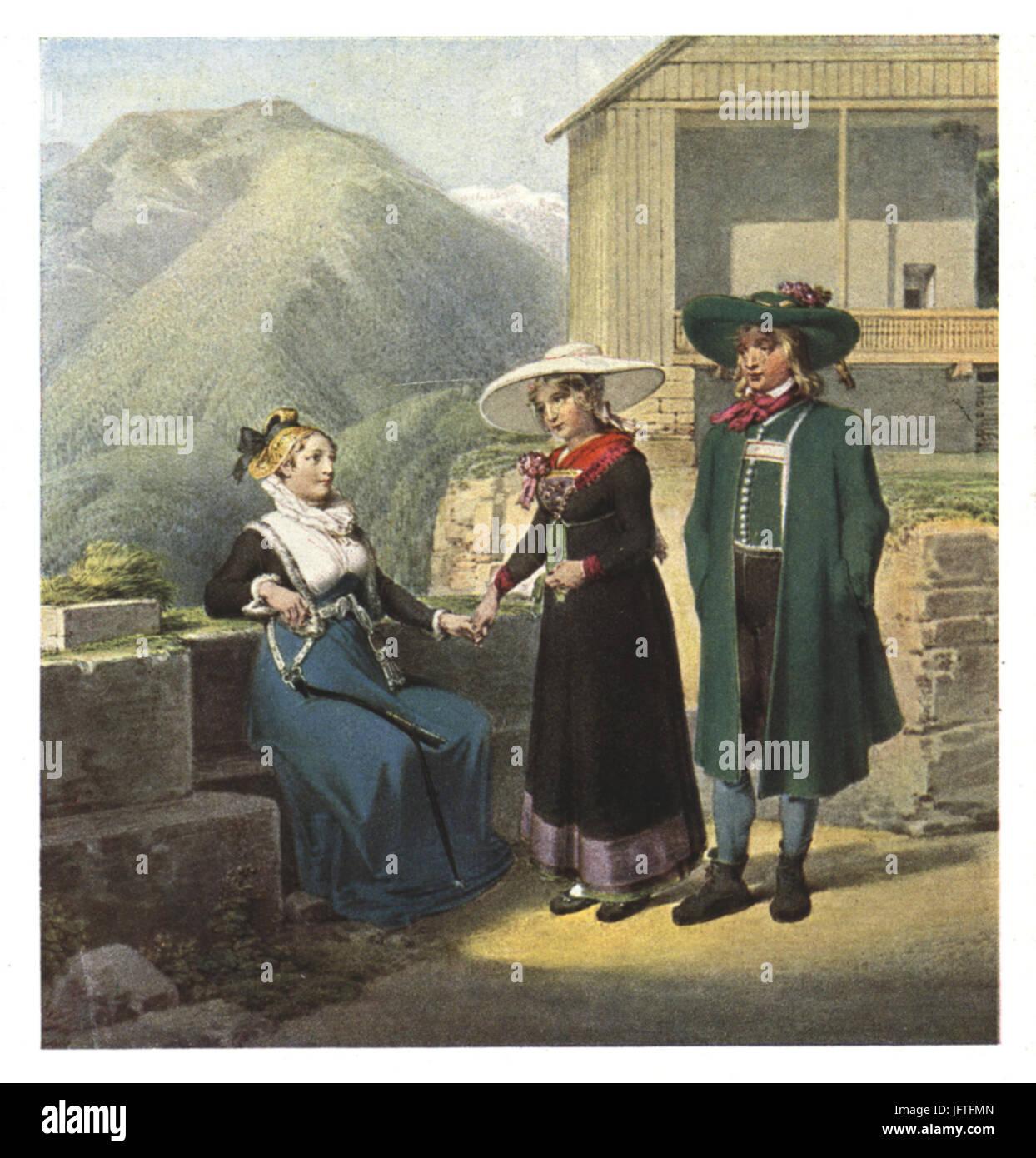 069 Bürgersfrau aus Bruck an der Mur und Bauernpaar aus der Gegend von Leoben - Aquarell von Matthäus Loder, 18 Stock Photo