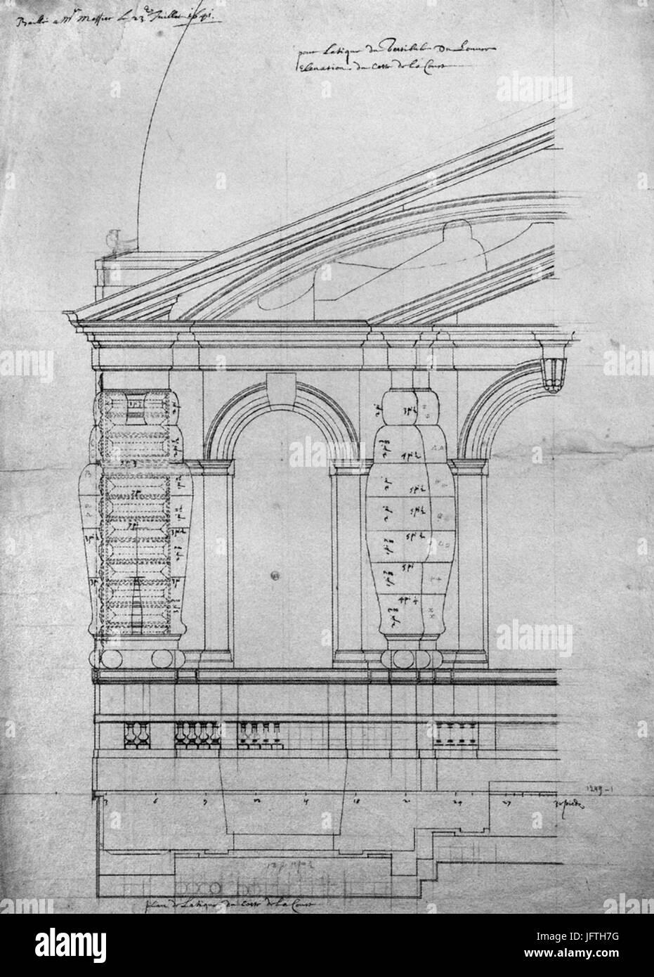 Elevation De L Etage D Attique Du Pavillon Neuf Du Louvre Dessin De