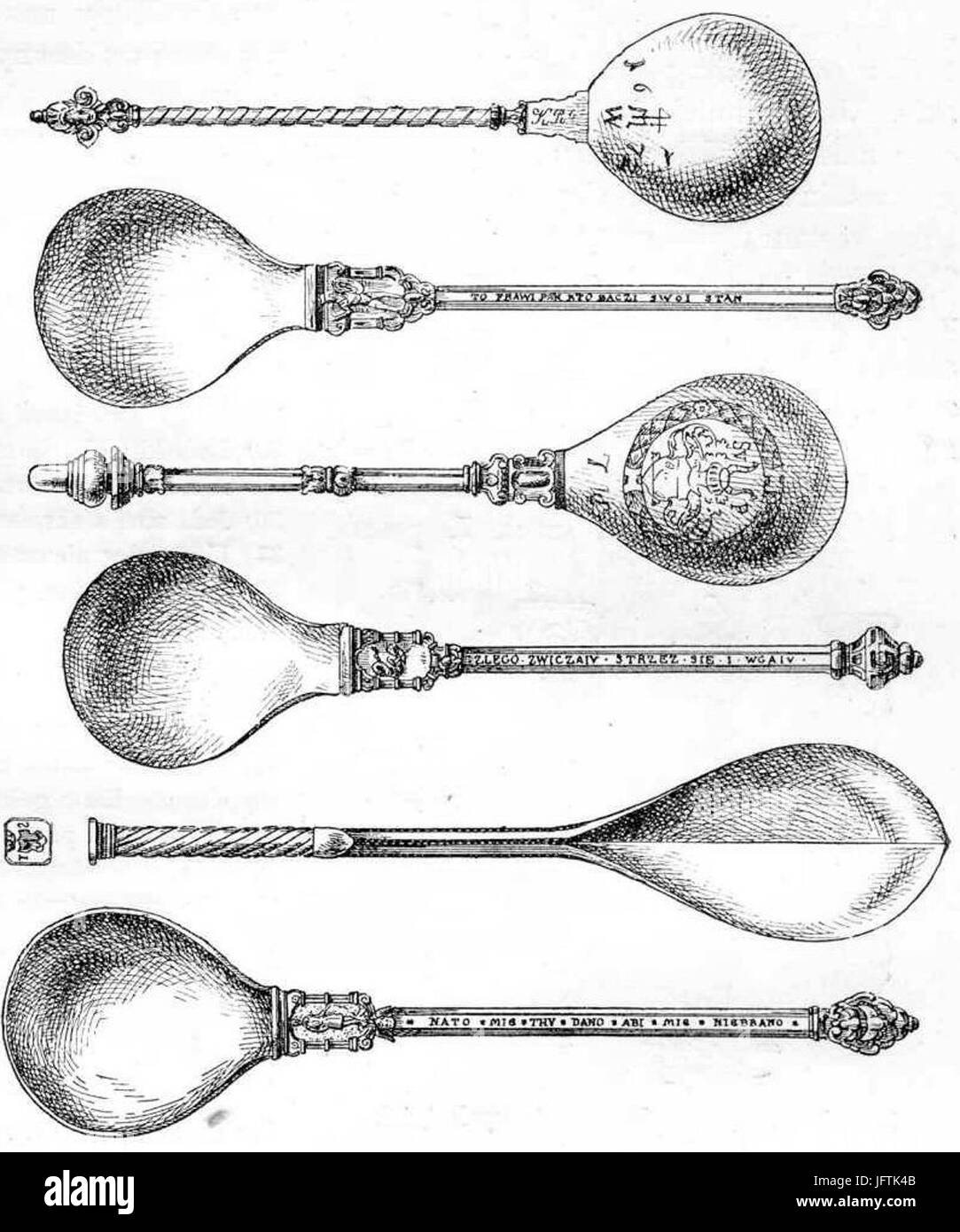 Łyżki starożytne ze zbiorów jeżewskich Stock Photo