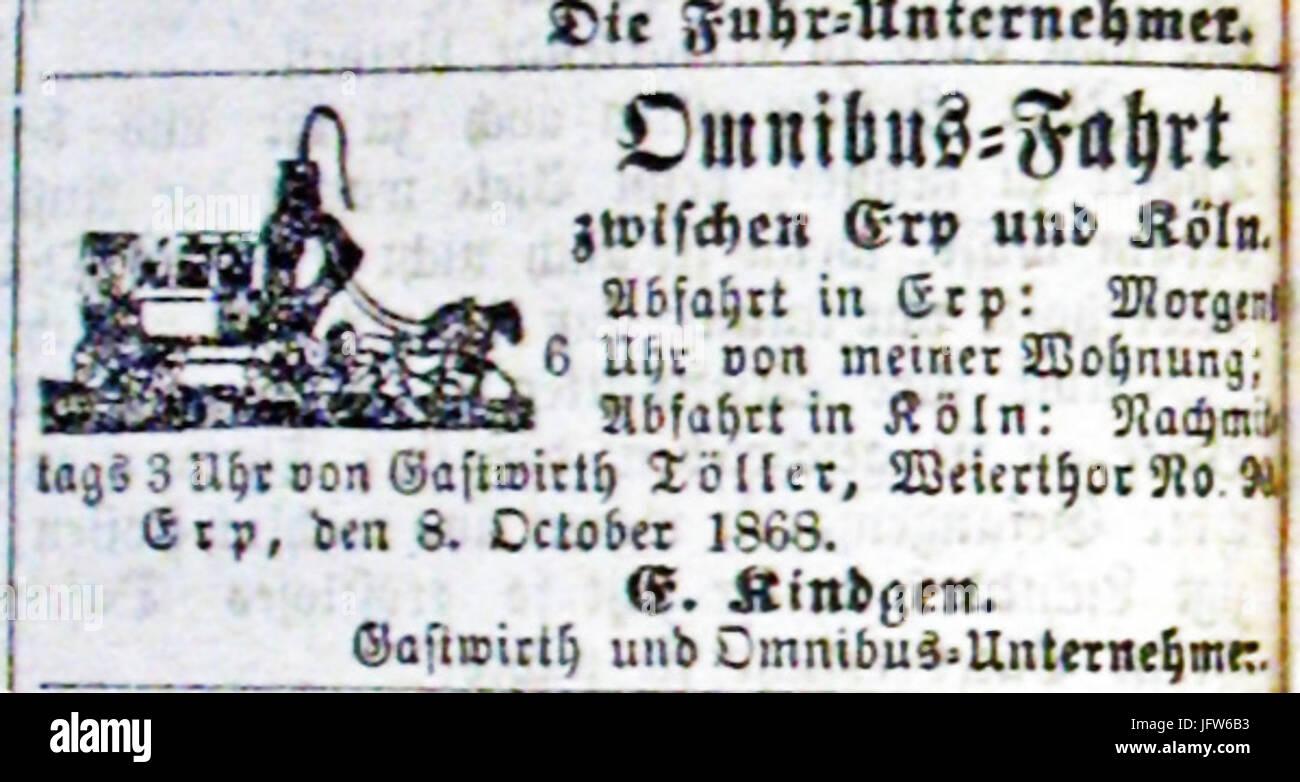 Annonce-Personenbeförderung-Erp-Köln-1868 - Stock Image