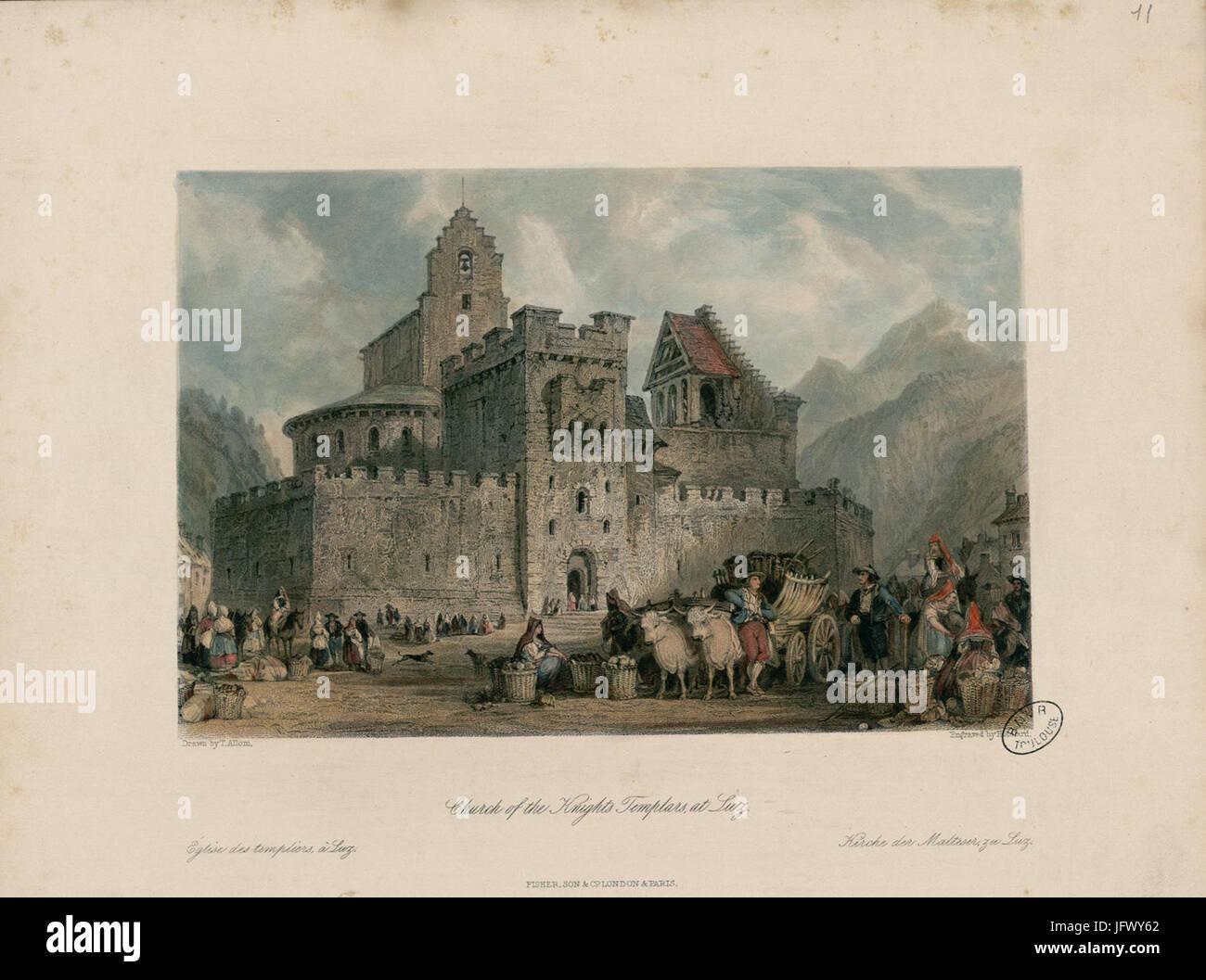 Church of the Knights Templars, at Luz = Eglise des Templiers, à Luz = Kirche der Malteser, zu Luz - Fonds - Stock Image