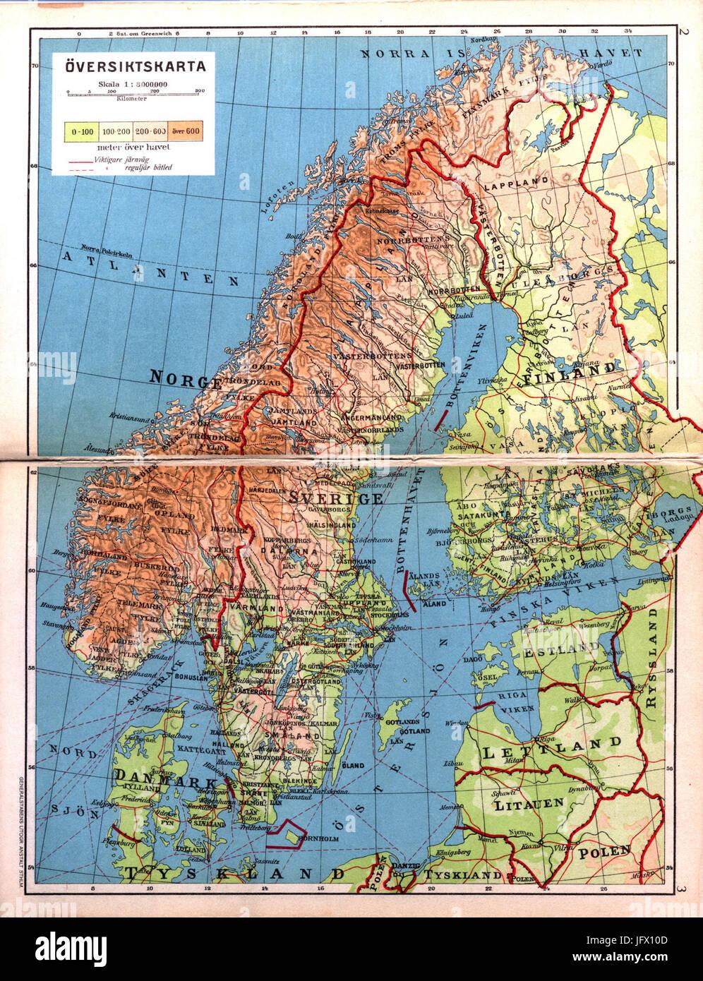 Cohrs Atlas Over Sverige 0002 Oversiktskarta Stock Photo