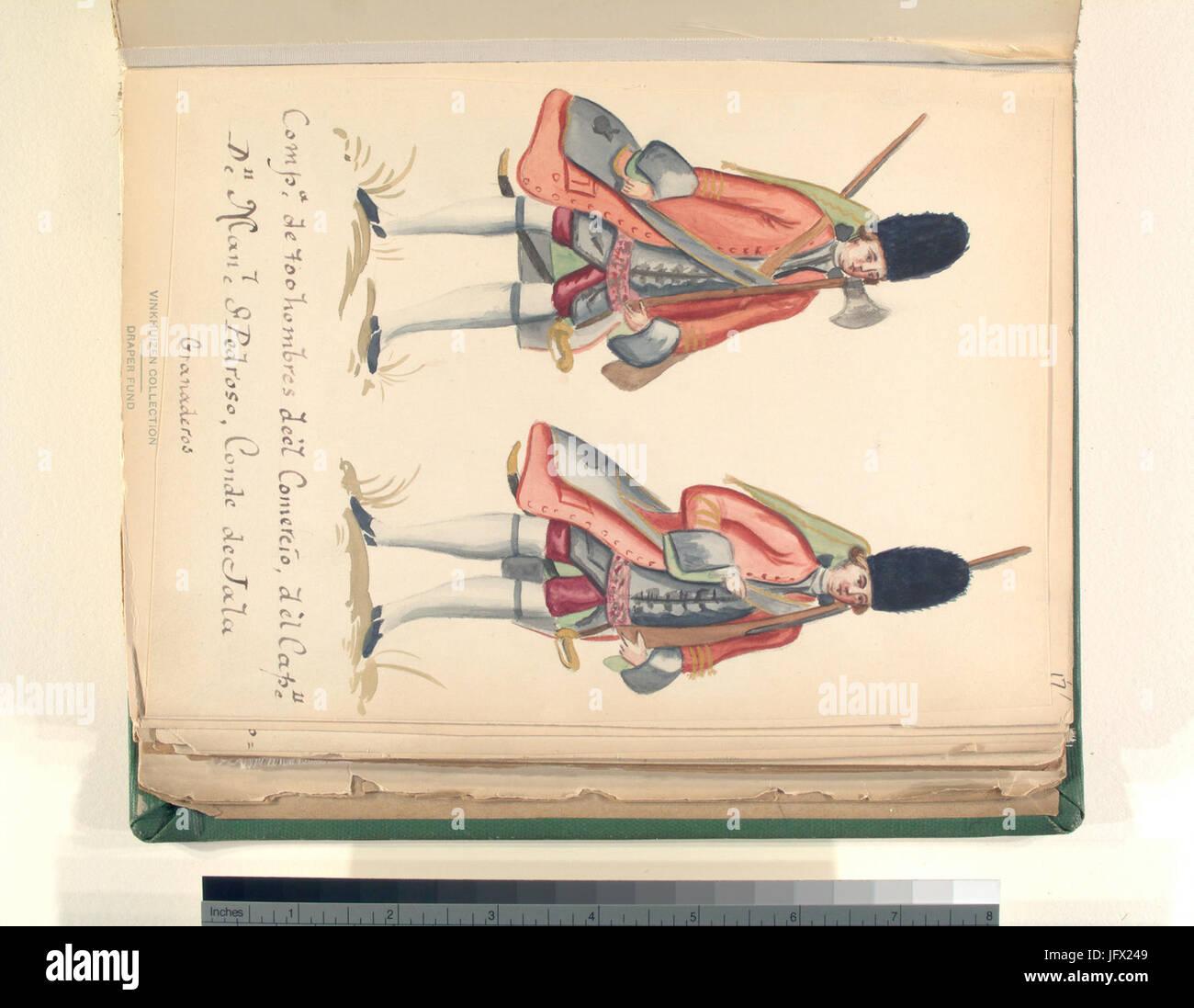 CompaơB1ia de 700 hombres de el comercio de el capitan don Manuel St. Pedroso, conde de jala granaderos (NYPL b14896507 - Stock Image