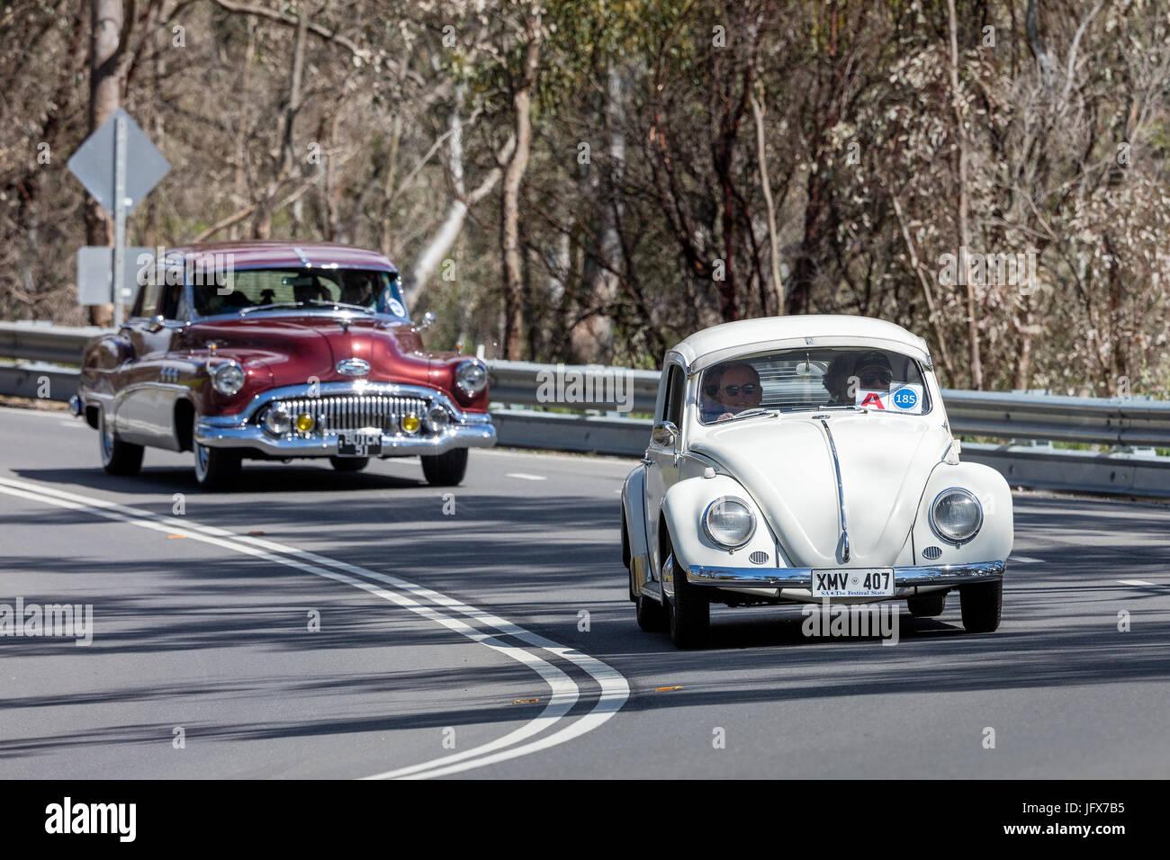 Vintage 1959 Volkswagen Type 1 Sedan driving on country roads near the town of Birdwood, South Australia. - Stock Image