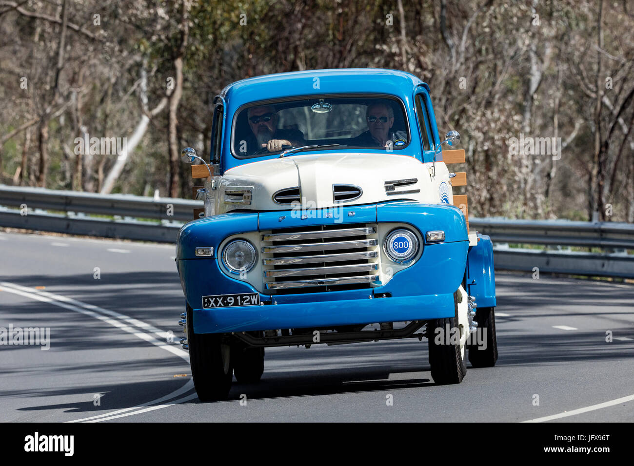 1940s Ford Vintage Classic Car Stock Photos 1948 Panel Truck F5 Driving On Country Roads Near The Town Of Birdwood South