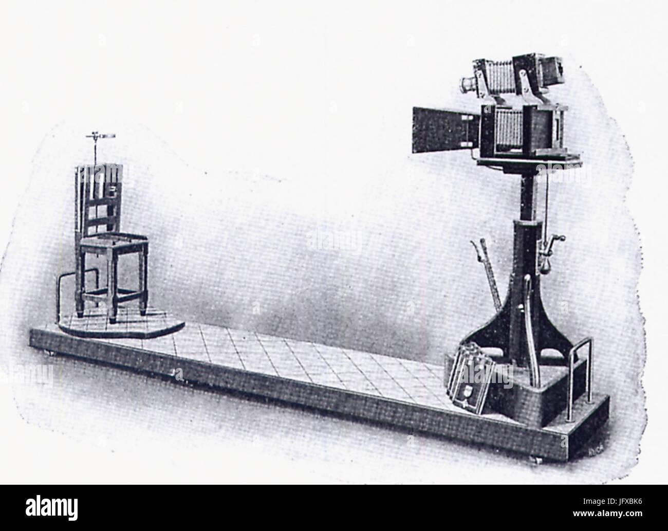 Bertillons Apparat zu Aufnahme signaletischer Porträts - Stock Image