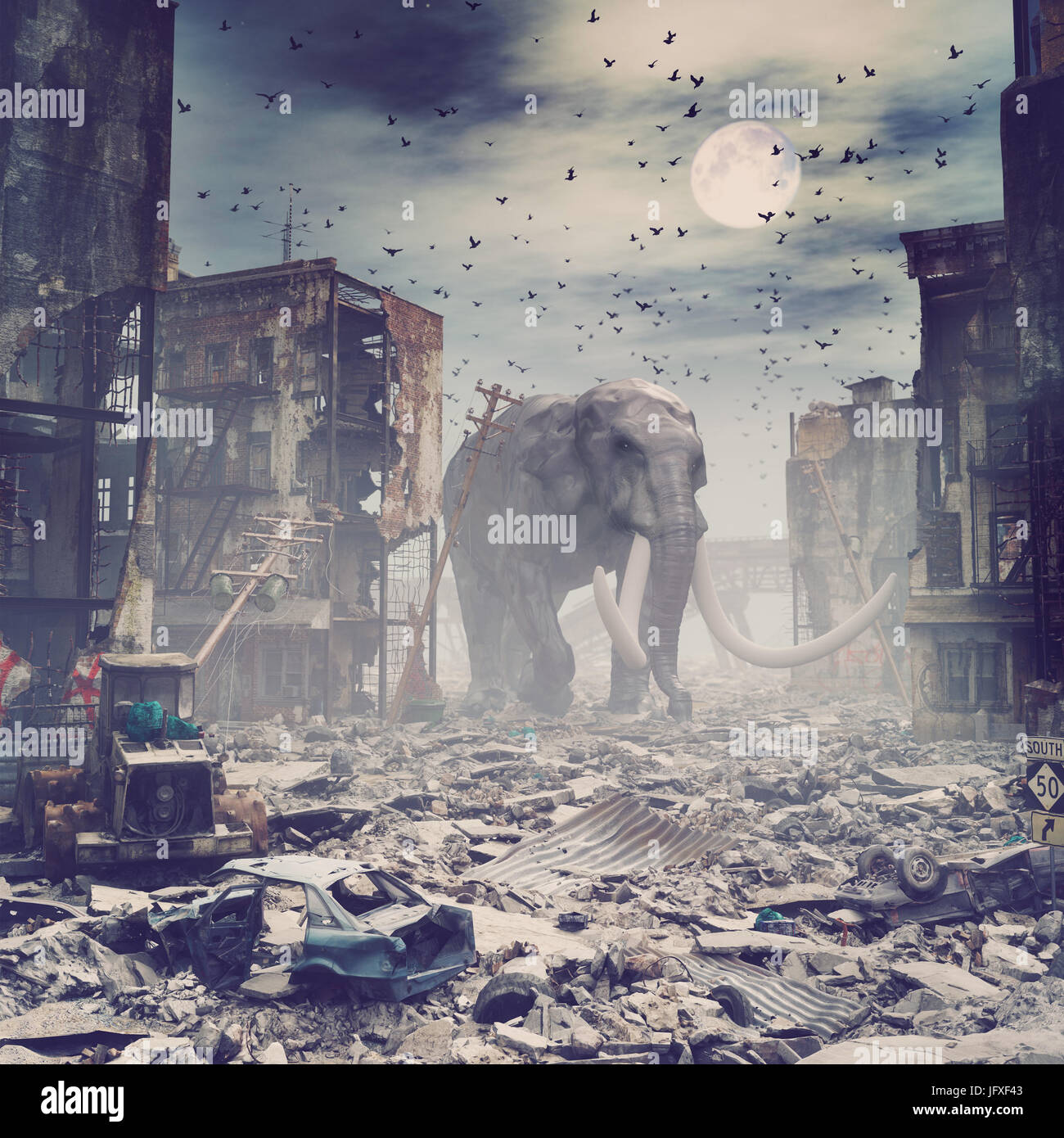 giant elephant in destroyed city. creative concept. 3d concept. Noise added - Stock Image