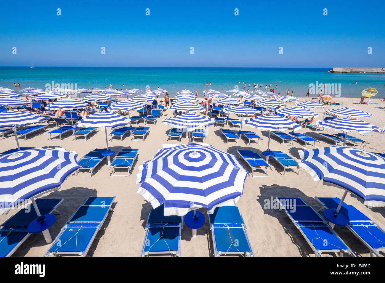 The beach in Cefalù, Sicily. Historic Cefalù is a major tourist destination on Sicily. - Stock Image