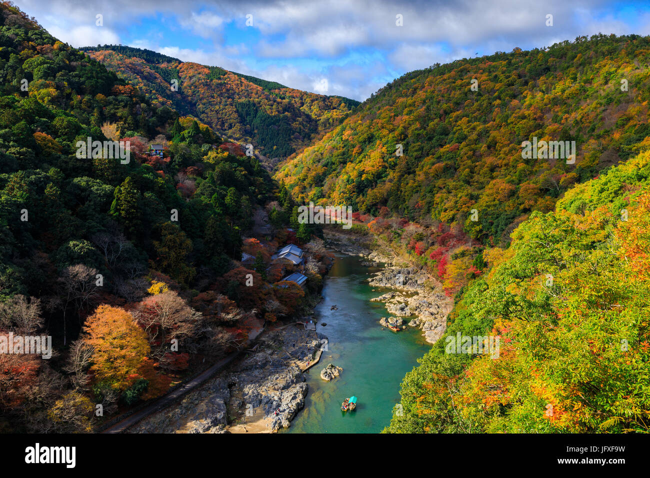 Hozu River in autumn top view from Arashiyama view point, Kyoto, Japan - Stock Image