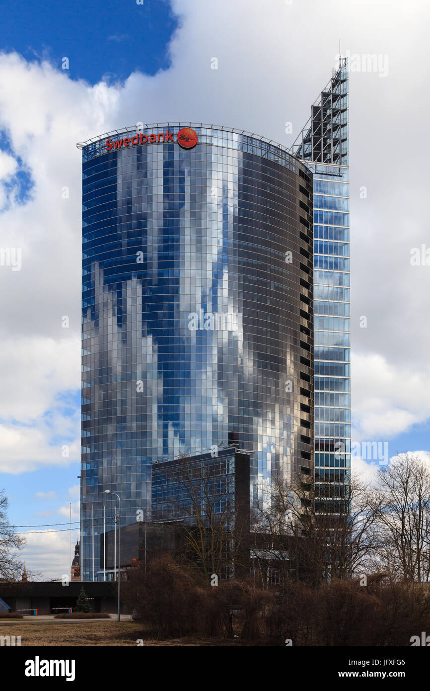 A view of the Latvian Swedbank headquarters in Riga, capital of Latvia.  Swedbank is a leading financial institution - Stock Image