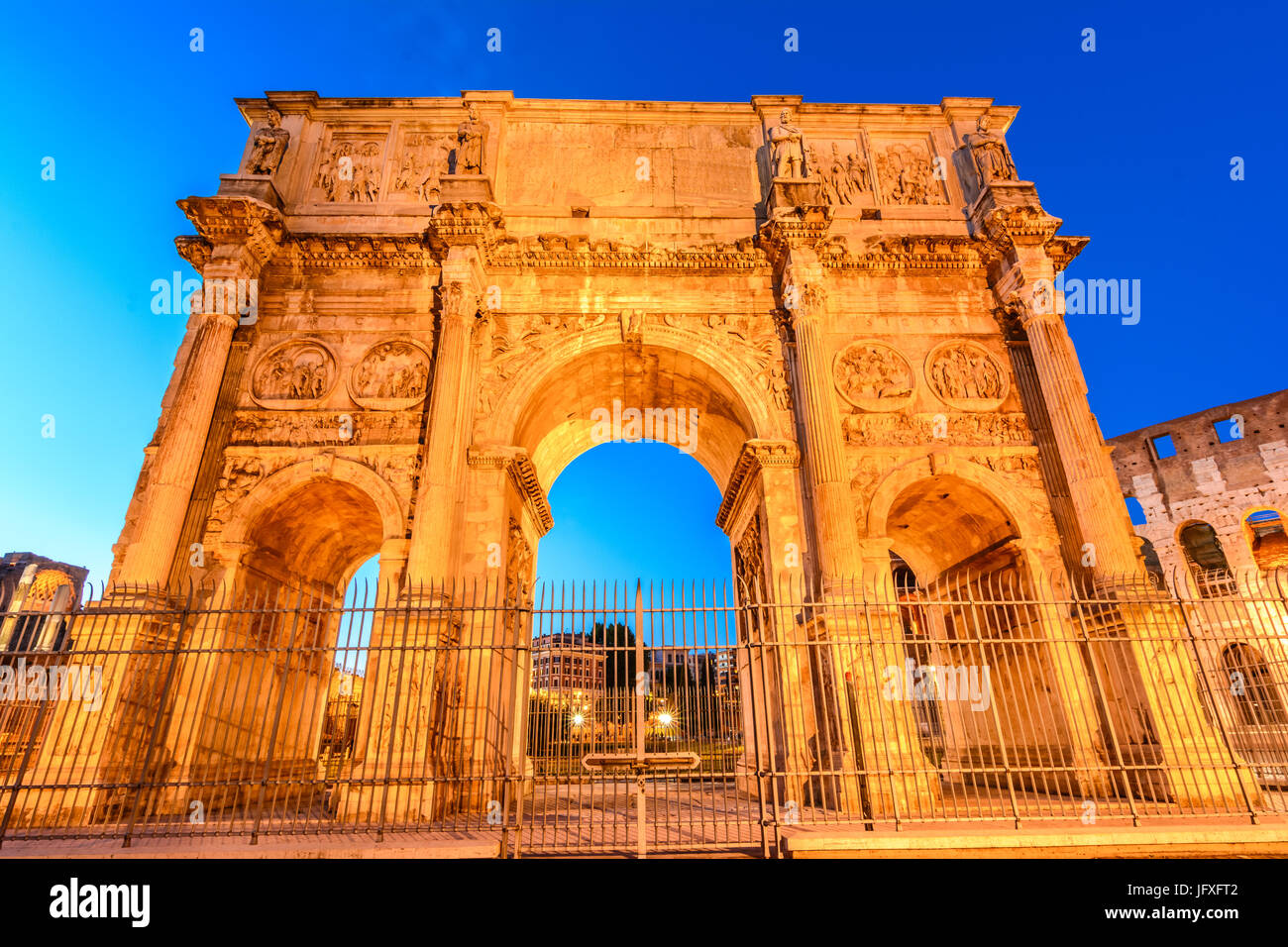The Arch of Constantine next to the Colosseum in Rome, Italy - Stock Image