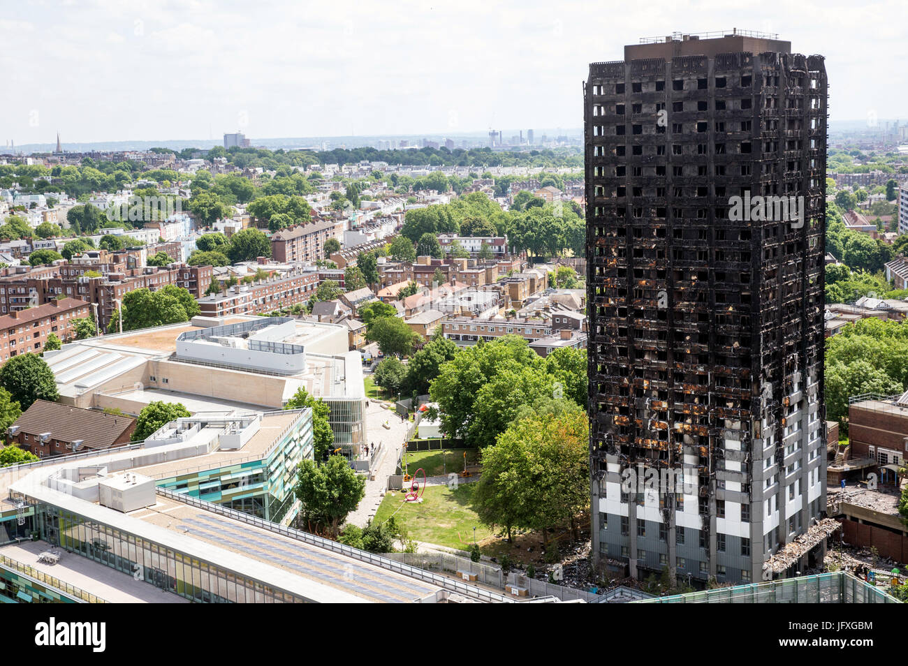 View of the the charred remains of the Grenfell Tower in Latimer Road where lots of people died.Kensington and Chelsea - Stock Image