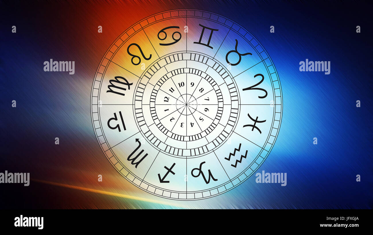 Zodiac astrology signs for horoscope, simple lineart illustration - Stock Image
