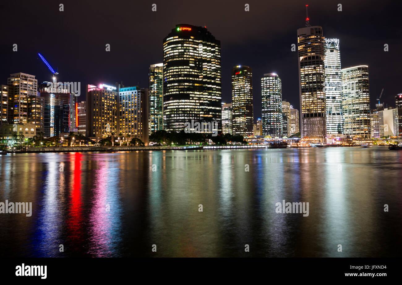 Brisbane city skyline after dark. Queensland. Australia. - Stock Image