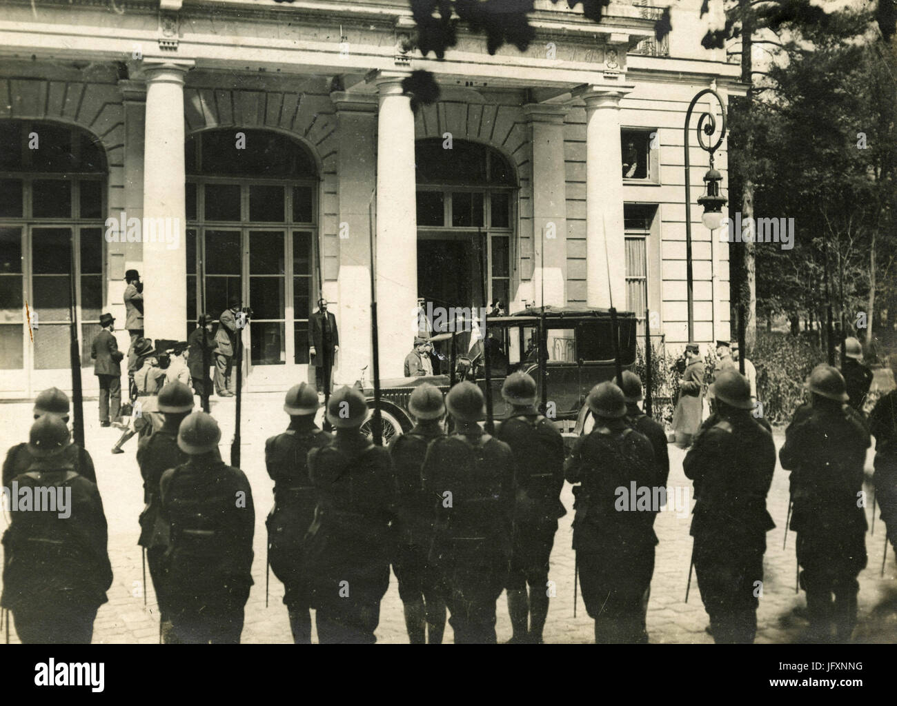 French PM Georges Clemenceau arrives at Versailles for the Peace Treaty after WW1, France - Stock Image