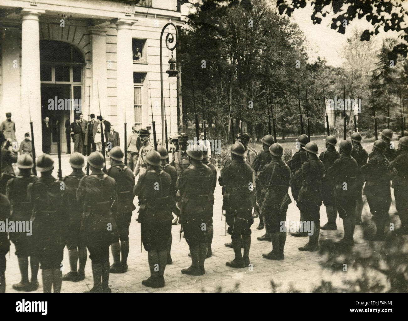 French Marshall Ferdinand Foch revues the troups at Versailles for the Peace Treaty after WW1, France - Stock Image