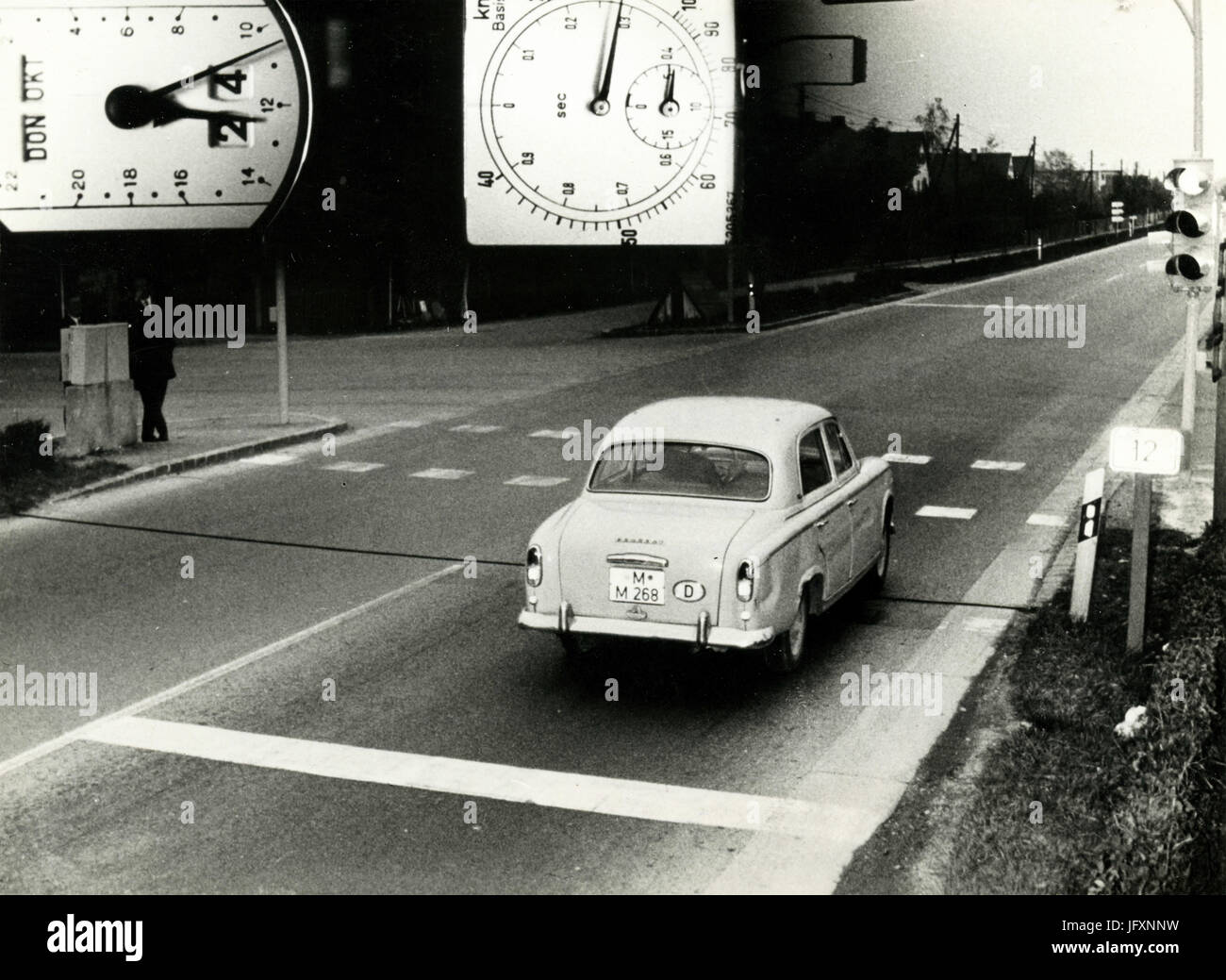The first speed camera fine in West Germany, 1964 - Stock Image