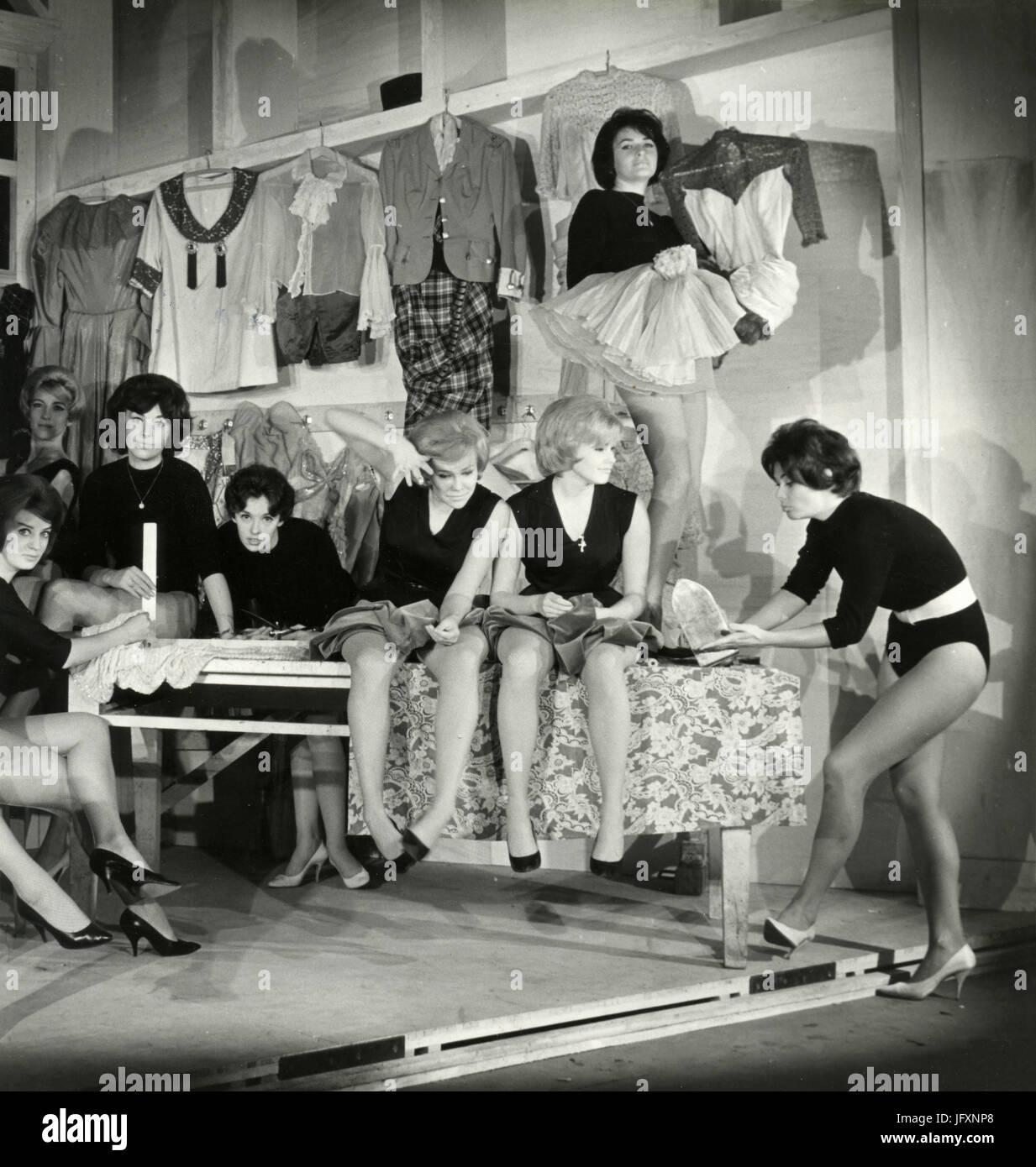 Girls' troupe during reharsal, October 1960 - Stock Image