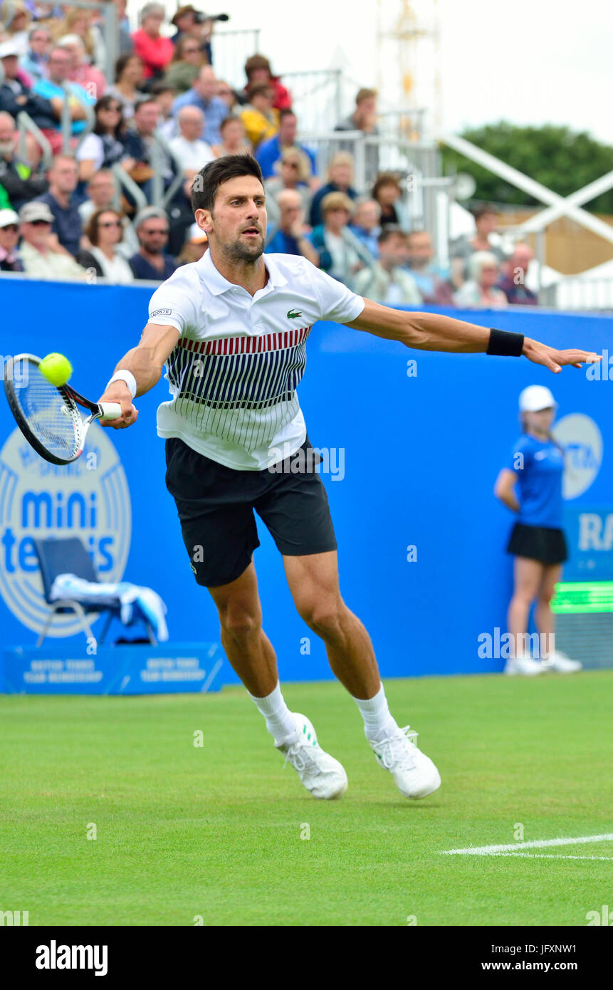 Novak Djokovic (Serbia) playing his semi-final match on centre court at the Aegon International, Eastbourne, 2017 - Stock Image