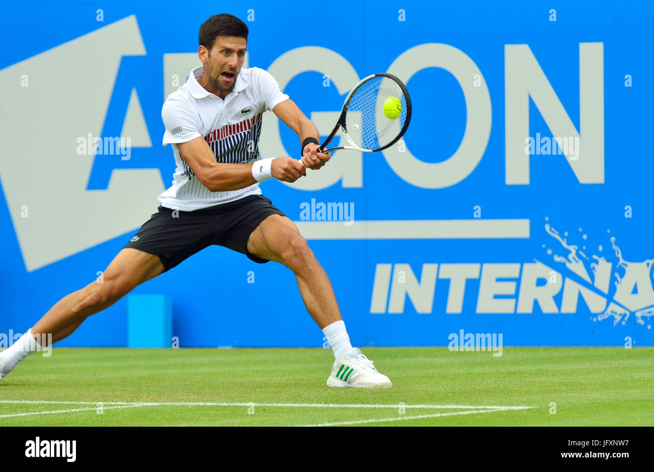Novak Djokovic (Serbia) playing on centre court at Devonshire Park, Eastbourne, during the Aegon International 2017 - Stock Image