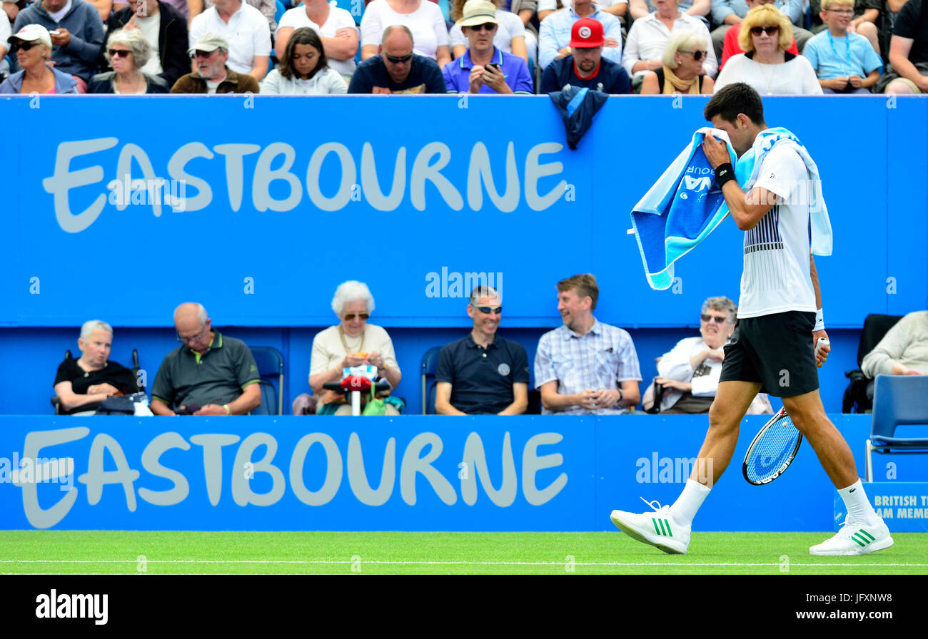 Novak Djokovic (Serbia) on centre court at Devonshire Park, Eastbourne, during the Aegon Intern - Stock Image