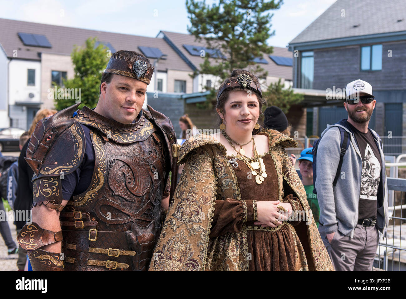 Comic book fans, film fans and cosplay artists gather at The Heartlands in Cornwall for Geekfest 3.0 - a celebration - Stock Image