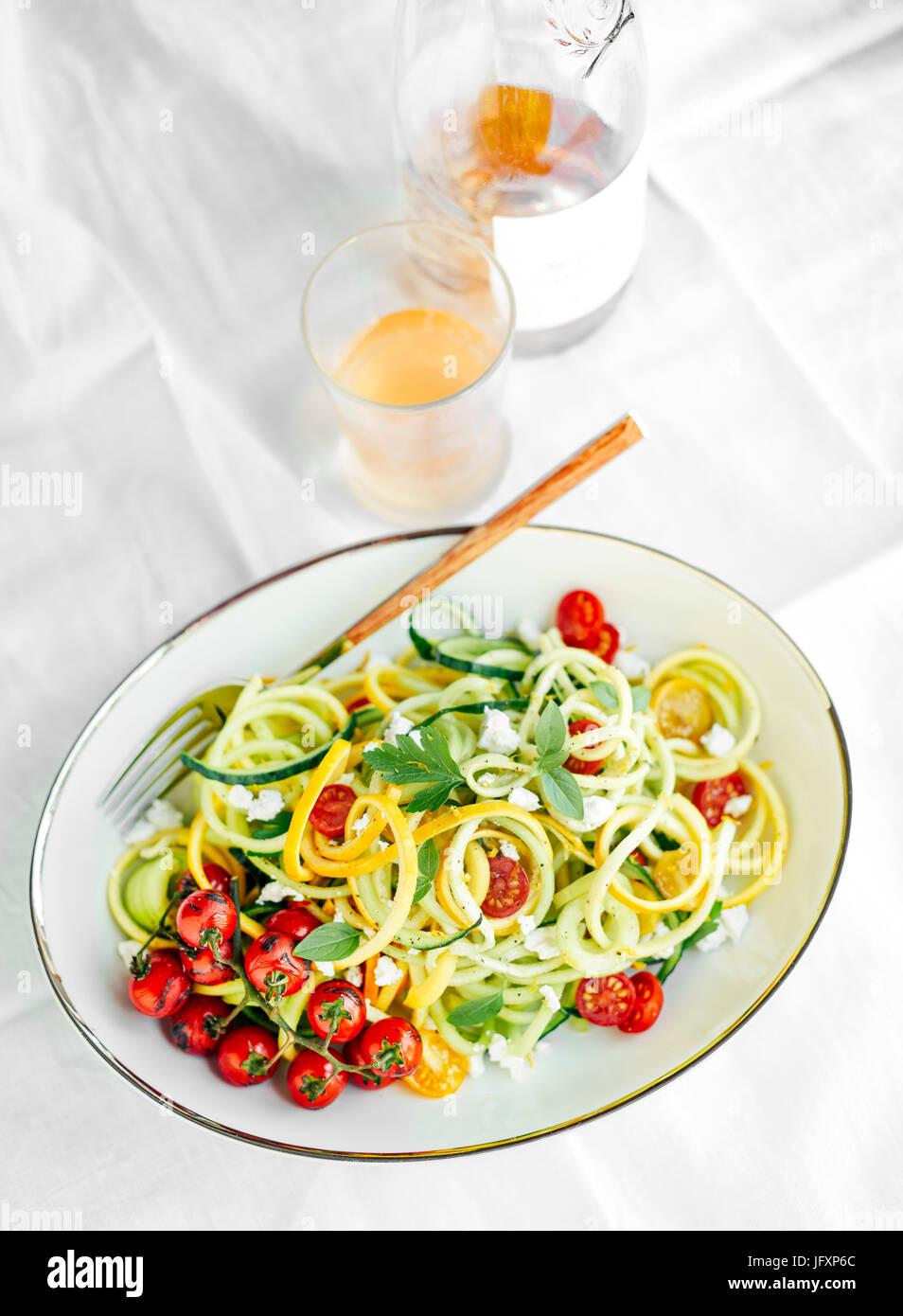 Spiralized zucchini Stock Photo