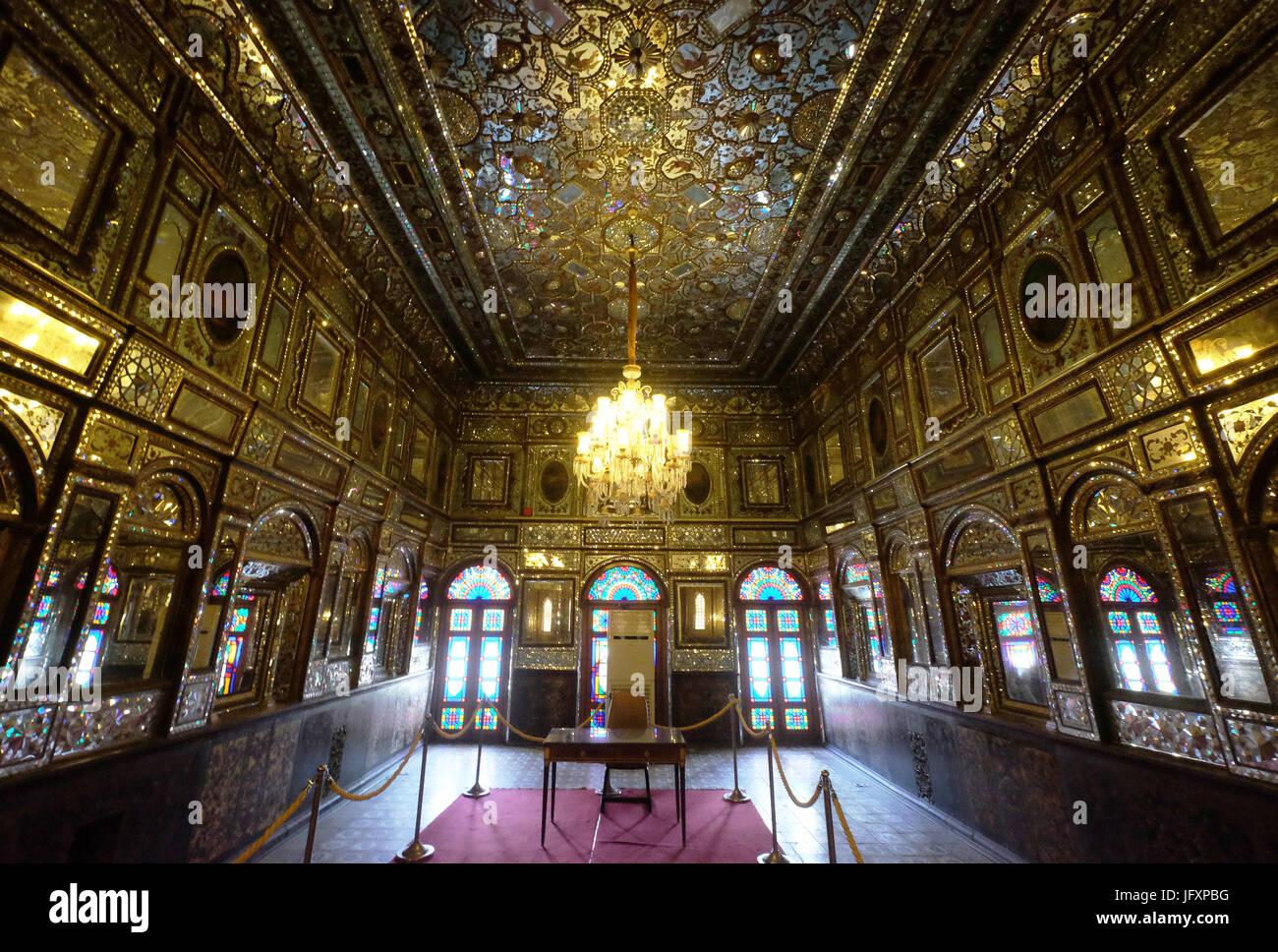 Golestan Palace Complex,Shams-Al Emarat (edifice of the sun),interior,Iran,Teheran - Stock Image