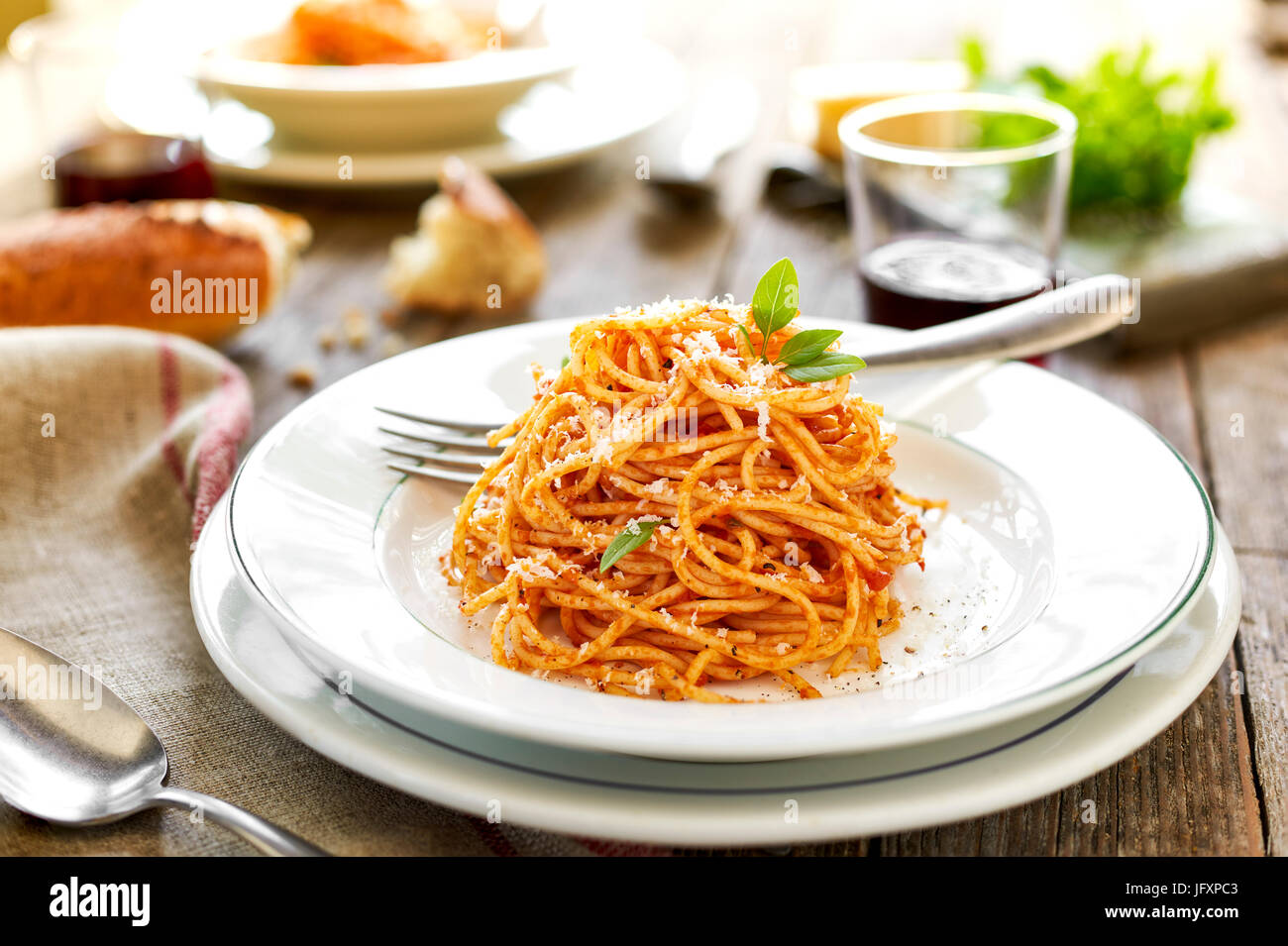 spaghetti with red sause Stock Photo