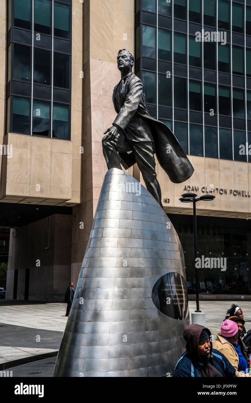 Statue of Adam Clayton Powell in Harlem, a Manhattan neighborhood in New York. Stock Photo
