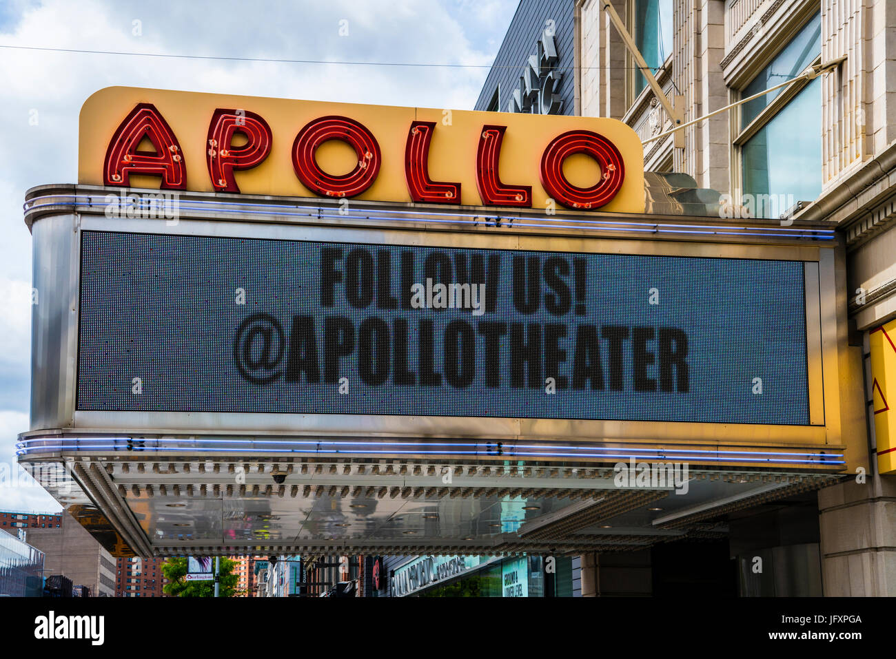 Apollo theater marquee in Harlem, a Manhattan New York neighborhood. Named for Apollo the Greco Roman God of music,, - Stock Image