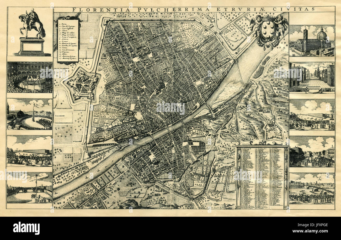 Old map of Florence, Italy Stock Photo: 147491246 - Alamy