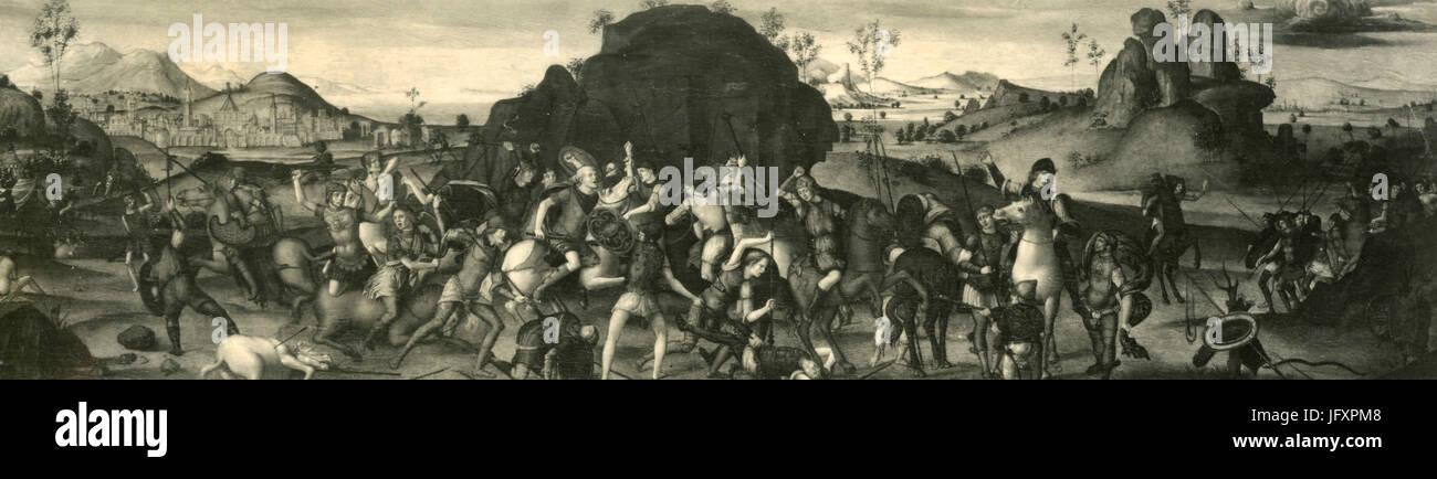 Romagna School painting from the 1400s, Accademia Carrara, Bergamo, Italy - Stock Image