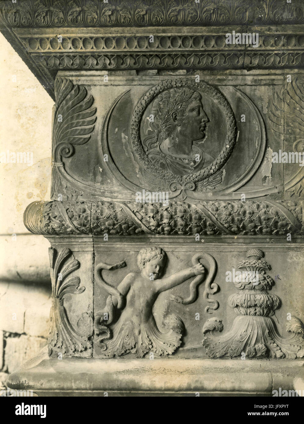 Aragon Arch, bas-relief detail, Castel Nuovo, Neaples, Italy - Stock Image