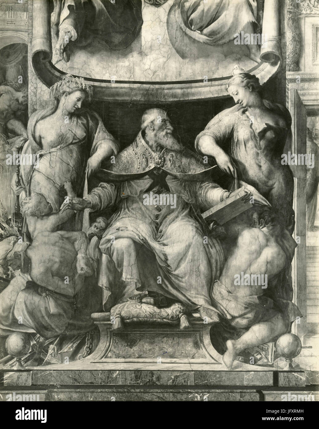 Pope Paulus III and two goddesses, painting by Francesco Salviati, Palazzo Farnese, Rome, Italy Stock Photo