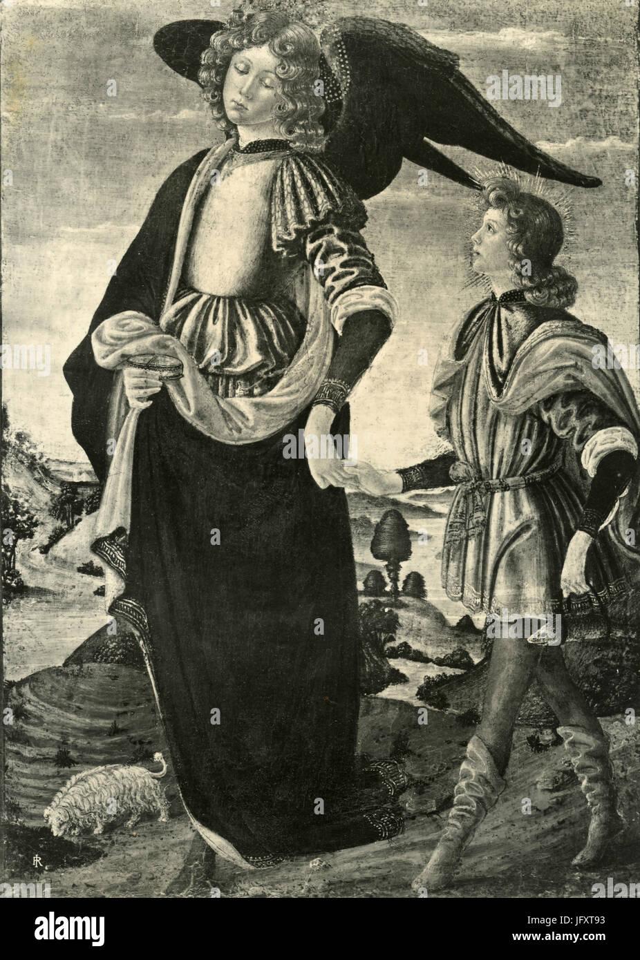 Archangel with Tobiolo, painting by scuola fiorentina XV sec., Bergamo, Italy - Stock Image