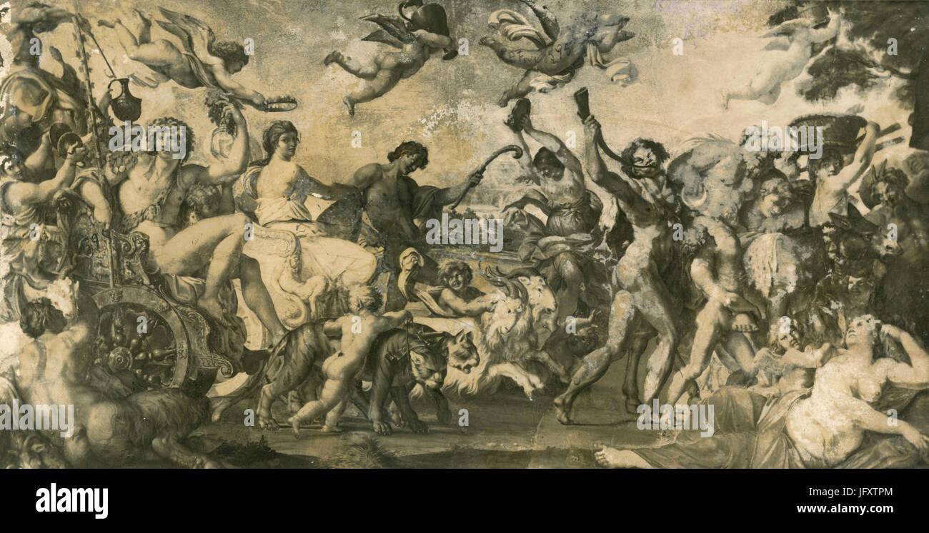 Triumph of Bacchus and Ariadne, fresco by Caracci e Scolari, Palazzo Farnese, Rome, Italy Stock Photo