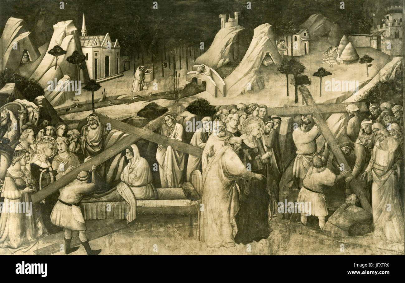 History of the Holy Cross, painting by Taddeo Gaddi, Florence, Italy Stock Photo