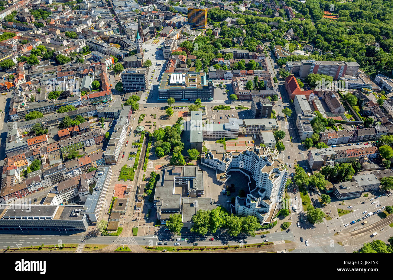 Henry King Square, Gelsenkirchen center Ahstraße, provost parish of St. Augustine, pedestrian Bahnhofstrasse, - Stock Image